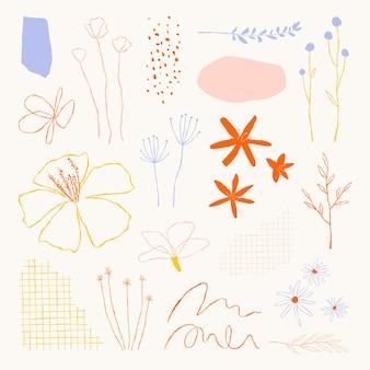 Collection d'éléments d'illustrations de griffonnage de feuilles botaniques esthétiques