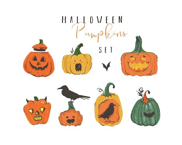Collection d'éléments d'illustrations happy halloween de dessin animé abstrait dessinés à la main sertie de citrouilles emoji lanternes à cornes monstres, chauves-souris et corbeaux sur fond blanc.