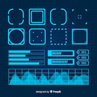 Collection d'éléments d'infographie bleue futuriste