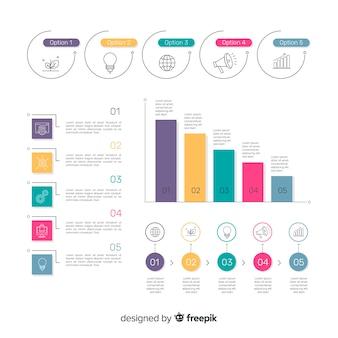 Collection d'éléments d'infographie dans un style plat