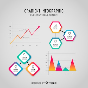 Collection d'éléments d'infographie en dégradé