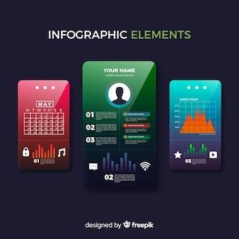 Collection d'éléments d'infographie en dégradé