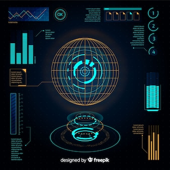 Collection d'éléments d'infographie futuriste