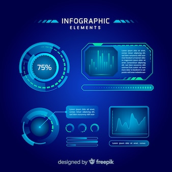 Collection d'éléments d'infographie hologramme futuriste