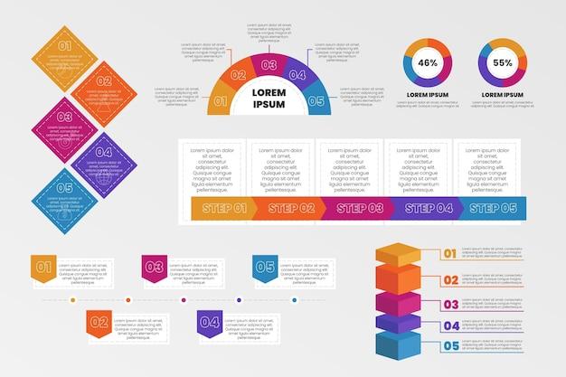 Collection d'éléments infographiques colorés plats