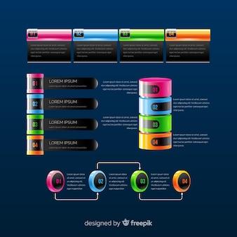 Collection d'éléments infographiques colorés réalistes