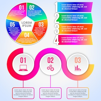 Collection d'éléments infographiques colorés