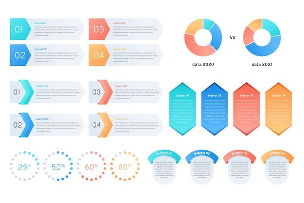 Collection d'éléments infographiques dégradés