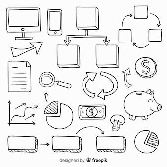 Collection d'éléments infographiques dessinés à la main