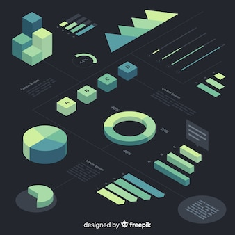 Collection d'éléments infographiques à gradient isométrique