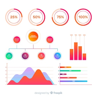 Collection d'éléments infographiques moderne avec un design plat