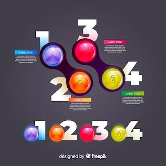 Collection d'éléments infographiques en plastique brillant réaliste