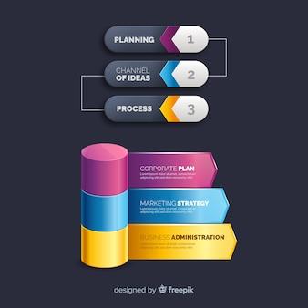 Collection d'éléments infographiques en plastique réalistes