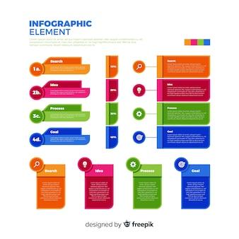 Collection d'éléments infographiques plat coloré