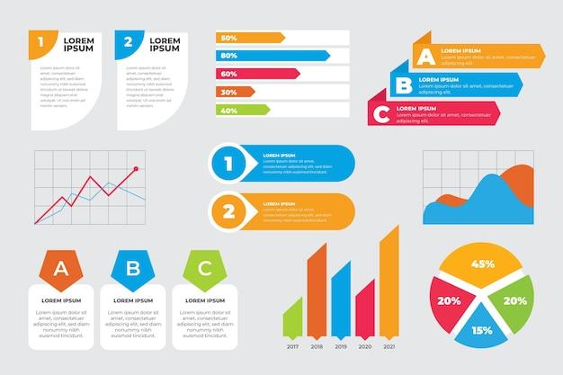 Collection D'éléments Infographiques Plats Vecteur Premium
