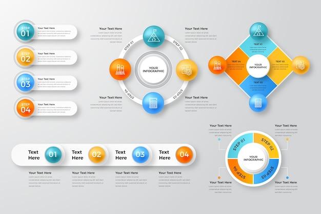 Collection d'éléments infographiques réalistes