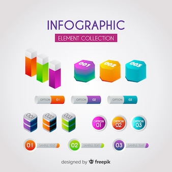 Collection d'éléments infographiques avec style dégradé