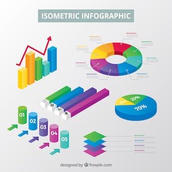 Collection d'éléments inforgraphiques dans un style isométrique