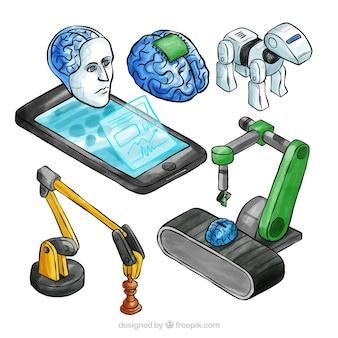 Collection d'éléments d'intelligence artificielle dans un style isométrique