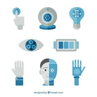 Collection d'éléments de l'intelligence artificielle dans un style plat