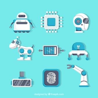 Collection d'éléments d'intelligence artificielle dans un style plat