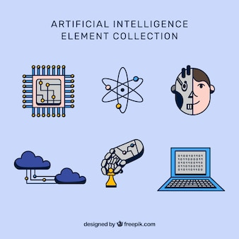 Collection d'éléments d'intelligence artificielle en design plat