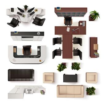 Collection d'éléments d'intérieur de bureau