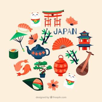Collection d'éléments japonais