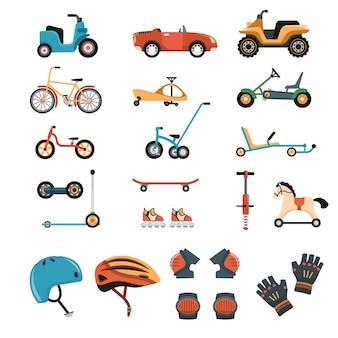 Collection d'éléments de jouets de conduite
