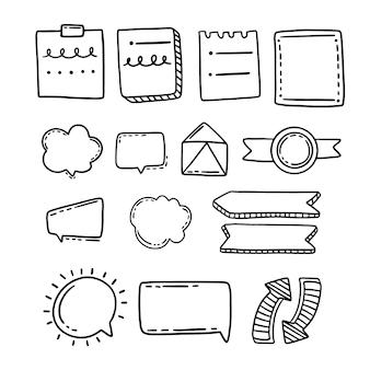 Collection d'éléments de journal de balle dessinés à la main
