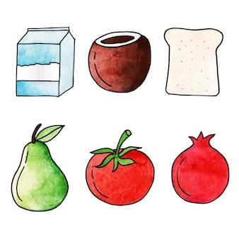 Collection d'éléments de la journée mondiale de l'alimentation aquarelle