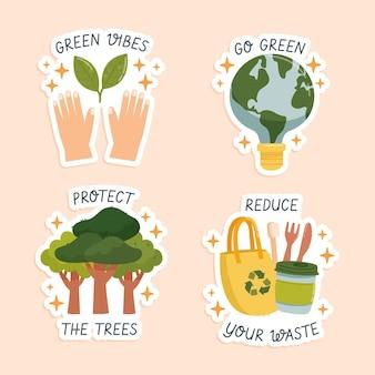 Collection d'éléments de la journée mondiale de l'environnement dessinés à la main