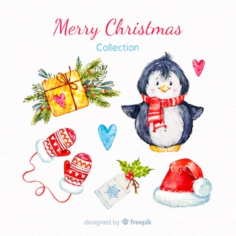 Collection d'éléments de joyeux noël aquarelle