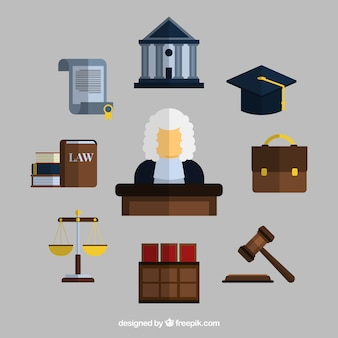 Collection d'éléments juridiques avec un design plat