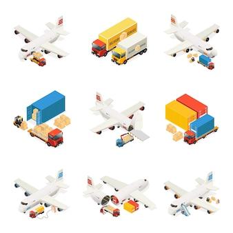 Collection d'éléments de logistique aérienne isométrique