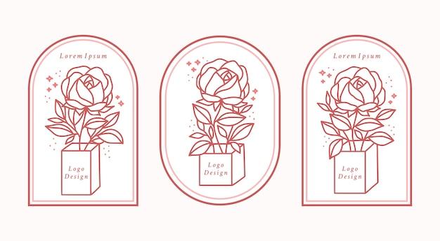 Collection d'éléments de logo beauté féminine dessinés à la main avec fleur rose botanique