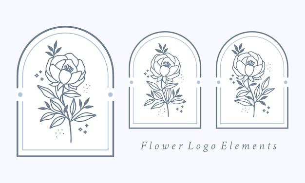 Collection d'éléments de logo fleur pivoine botanique dessinés à la main