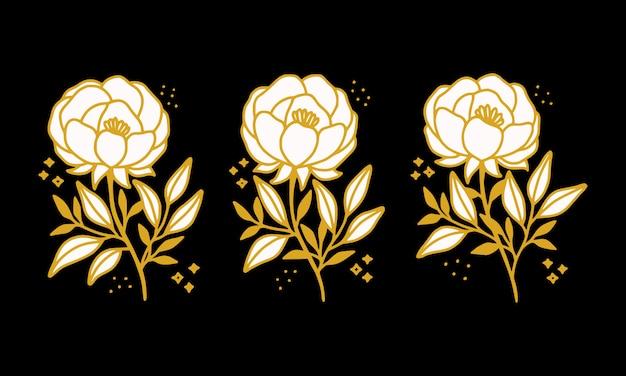 Collection d'éléments de logo de fleur de pivoine botanique vintage dessinés à la main