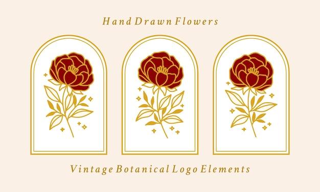Collection d'éléments de logo fleur pivoine botanique vintage or dessiné à la main