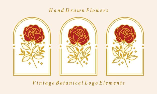 Collection d'éléments de logo fleur rose botanique or vintage dessinés à la main