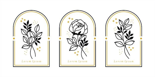 Collection d'éléments de logo fleur rose dessinés à la main;