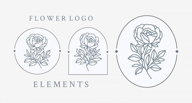 Collection d'éléments de logo fleur rose dessinés à la main