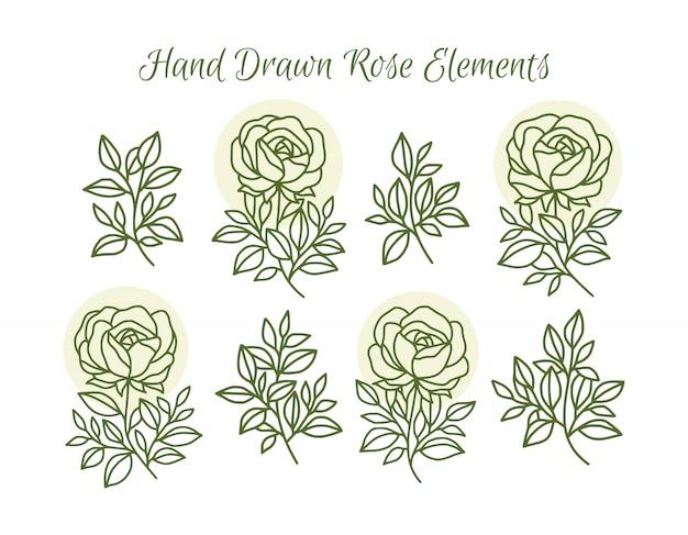 Collection d'éléments de logo de fleur rose d'été tropical dessinés à la main