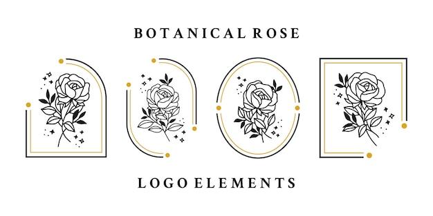 Collection d'éléments de logo fleur rose vintage dessinés à la main