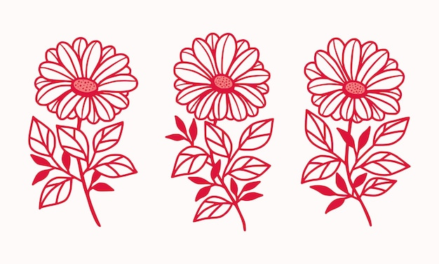 Collection d'éléments de logo de marguerite botanique rose dessinés à la main et fleur de gerbera