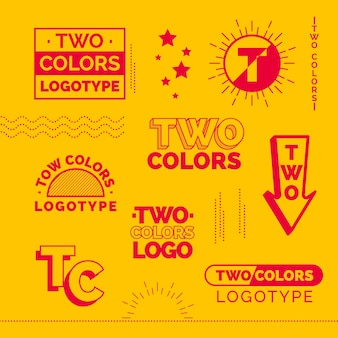Collection d'éléments de logo minimal en rouge et jaune