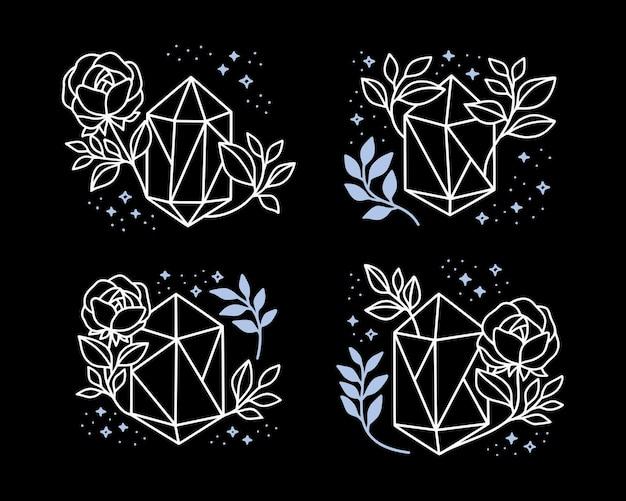 Collection d'éléments magiques dessinés à la main avec cristal, fleur, étoiles et branche de feuille