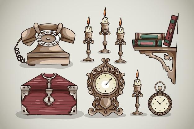 Collection d'éléments de marché d'antiquités dessinés