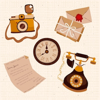 Collection d'éléments de marché d'antiquités