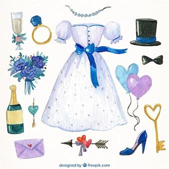 Collection d'éléments de mariage peint à l'aquarelle